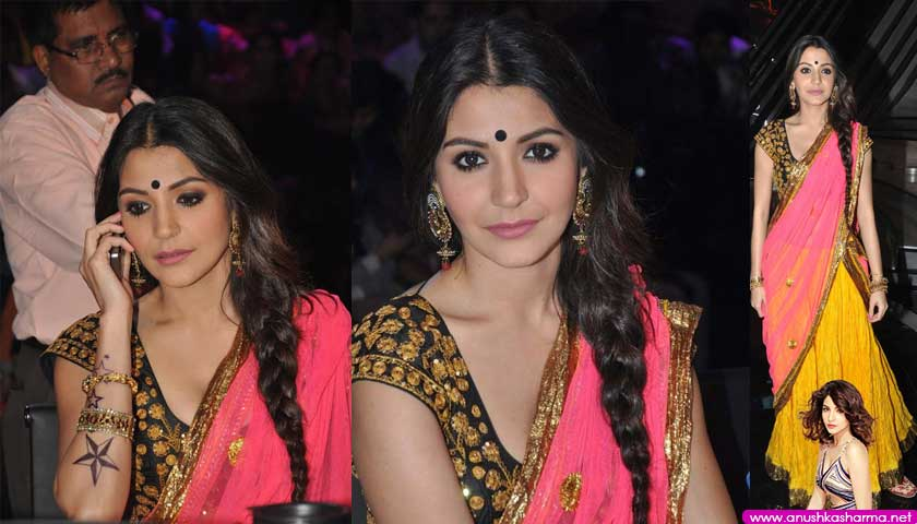 Anushka Sharma Hot In Saree Promoting Matru Ki Bijlee Ka Munda on Nach Baliya