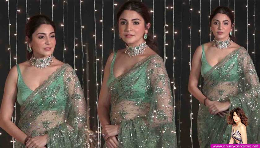 Gorgeous Anushka Sharma In Transperent Green Sare